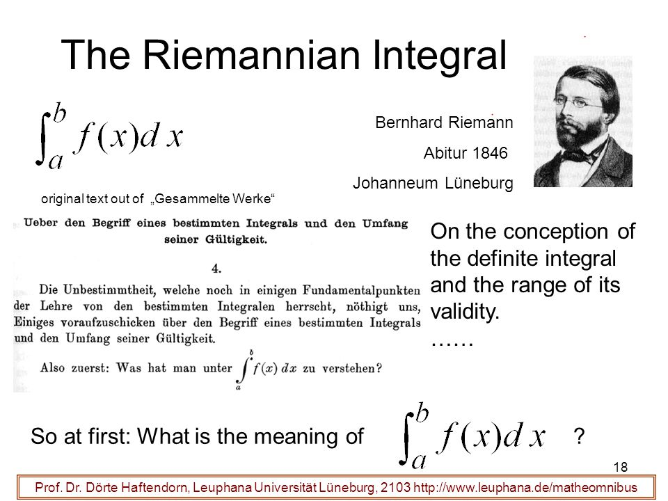 The Riemannian Integral