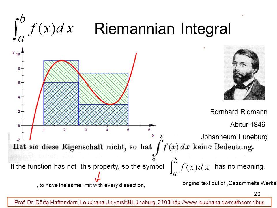 Riemannian Integral Bernhard Riemann Abitur 1846 Johanneum Lüneburg