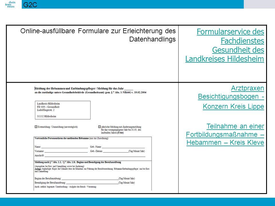 Formularservice des Fachdienstes Gesundheit des Landkreises Hildesheim