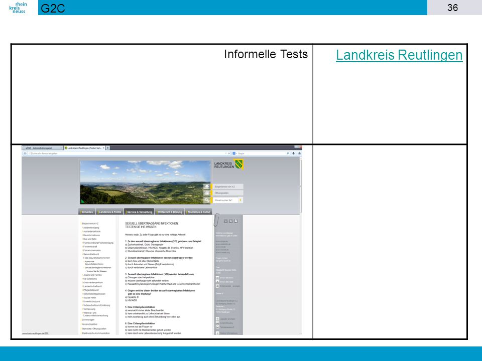 G2C Informelle Tests Landkreis Reutlingen