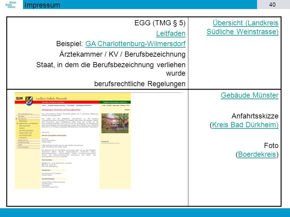 Impressum EGG (TMG § 5) Leitfaden. Beispiel: GA Charlottenburg-Wilmersdorf. Ärztekammer / KV / Berufsbezeichnung.