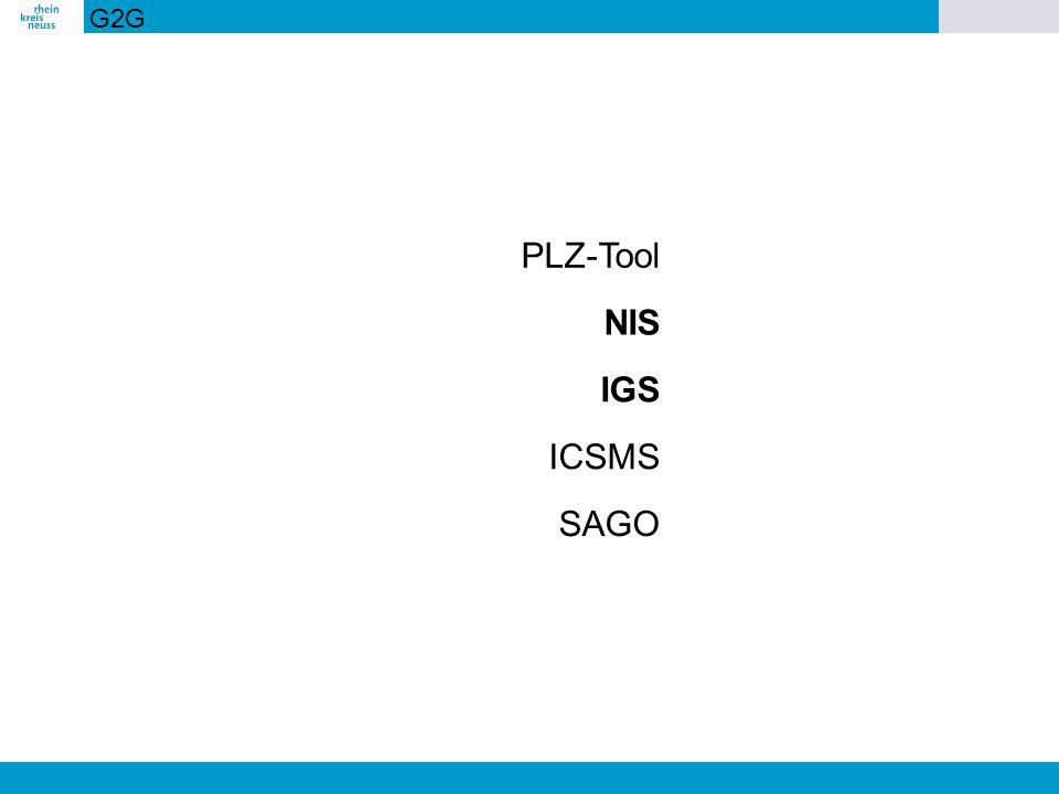 G2G PLZ-Tool NIS IGS ICSMS SAGO