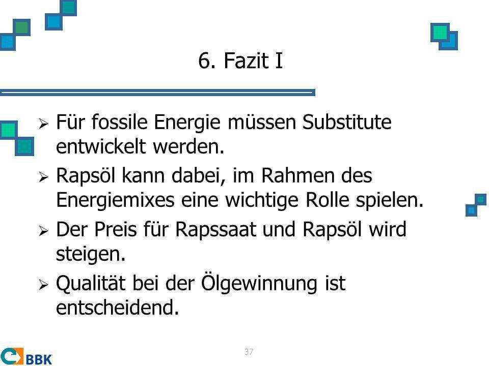 6. Fazit I Für fossile Energie müssen Substitute entwickelt werden.