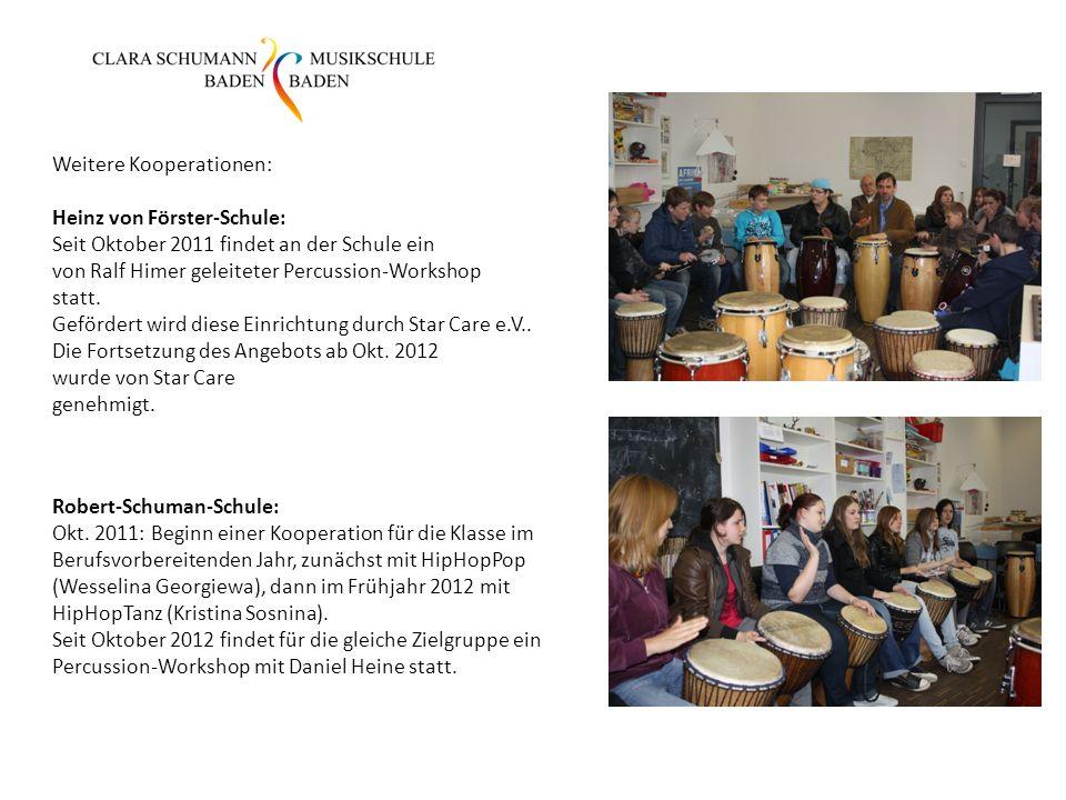 Weitere Kooperationen: Heinz von Förster-Schule: Seit Oktober 2011 findet an der Schule ein von Ralf Himer geleiteter Percussion-Workshop statt.