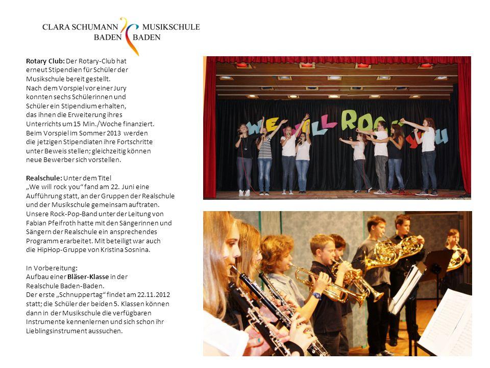 Rotary Club: Der Rotary-Club hat erneut Stipendien für Schüler der Musikschule bereit gestellt.