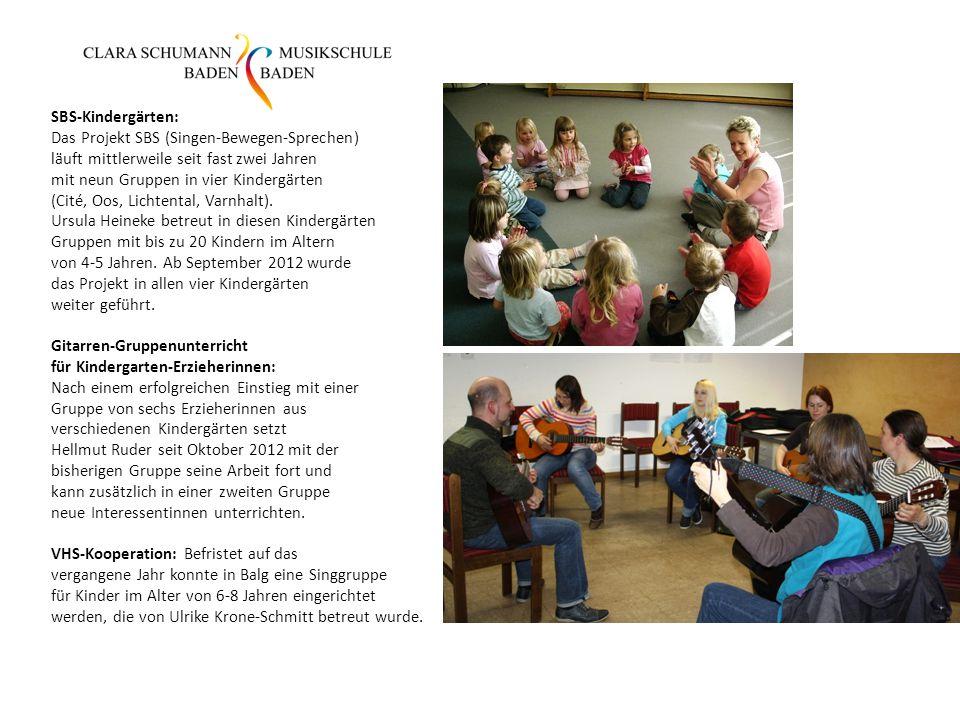 SBS-Kindergärten: Das Projekt SBS (Singen-Bewegen-Sprechen) läuft mittlerweile seit fast zwei Jahren mit neun Gruppen in vier Kindergärten (Cité, Oos, Lichtental, Varnhalt).
