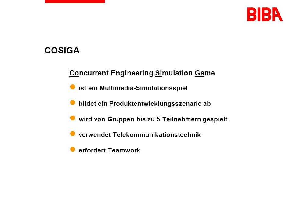 COSIGA Concurrent Engineering Simulation Game