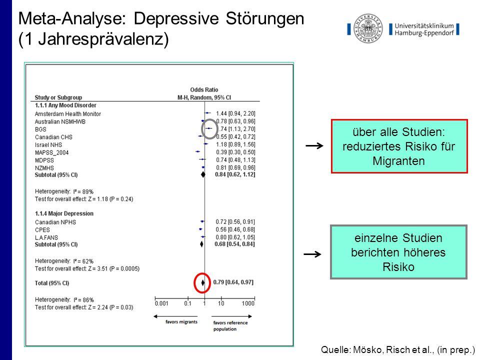 Meta-Analyse: Depressive Störungen (1 Jahresprävalenz)