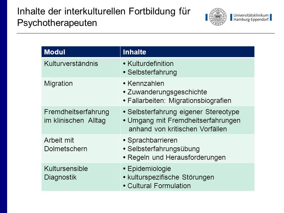 Inhalte der interkulturellen Fortbildung für Psychotherapeuten