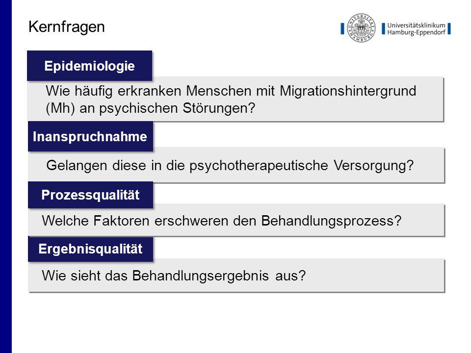 Kernfragen Wie häufig erkranken Menschen mit Migrationshintergrund (Mh) an psychischen Störungen Epidemiologie.