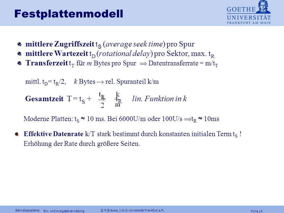 Festplattenmodell mittlere Zugriffszeit tS (average seek time) pro Spur. mittlere Wartezeit tD (rotational delay) pro Sektor, max. tR.