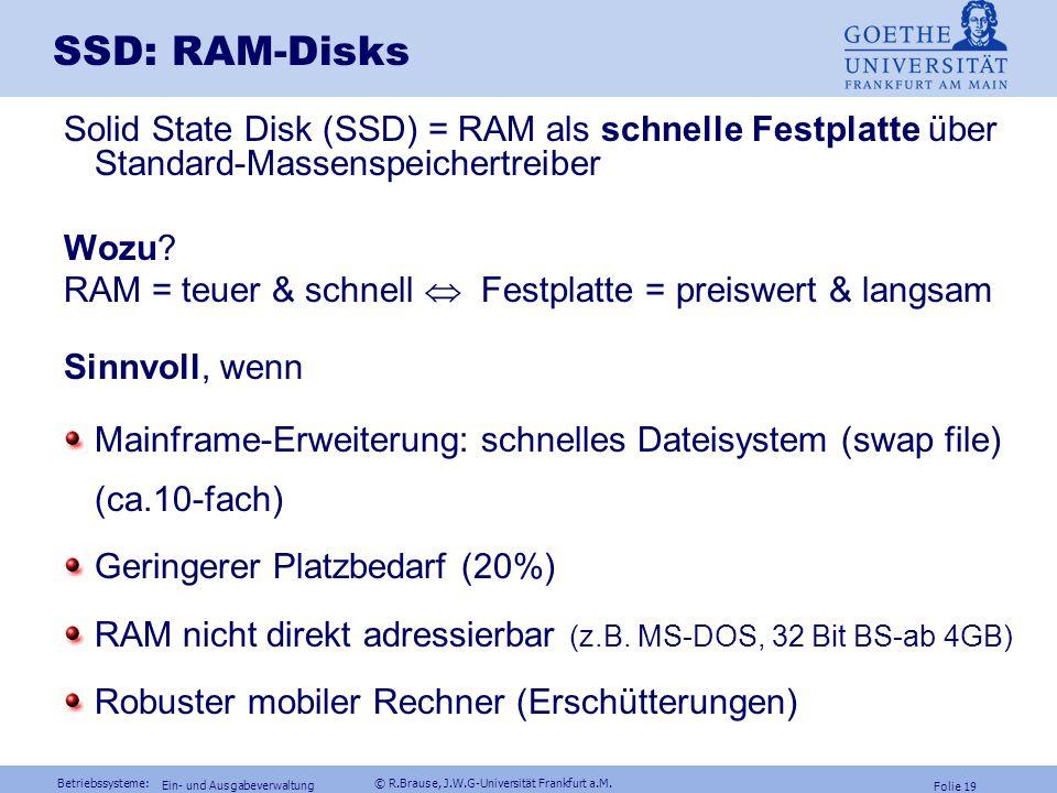 SSD: RAM-Disks Solid State Disk (SSD) = RAM als schnelle Festplatte über Standard-Massenspeichertreiber.
