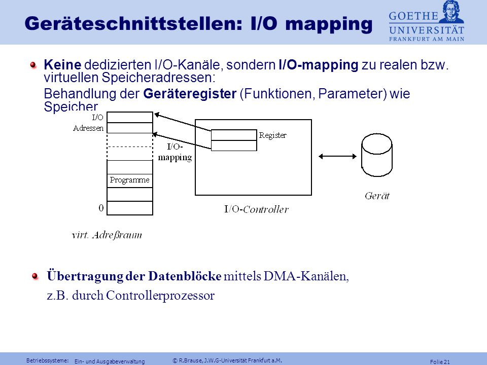 Geräteschnittstellen: I/O mapping