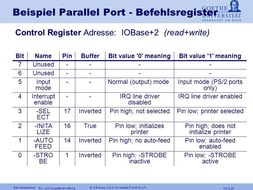 Beispiel Parallel Port - Befehlsregister