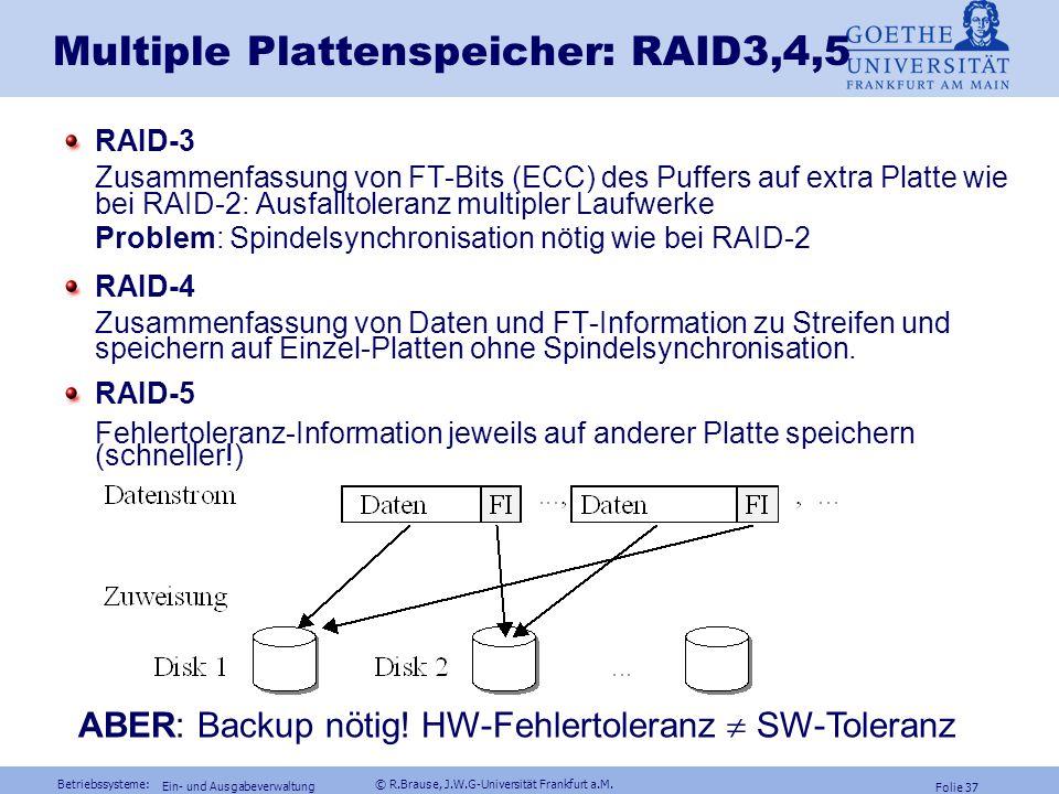 Multiple Plattenspeicher: RAID3,4,5