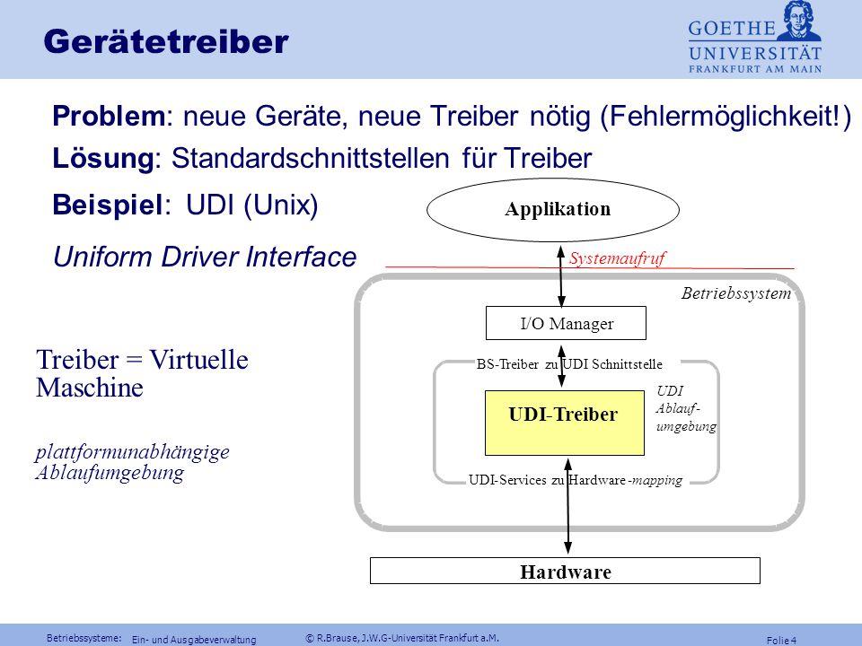 Gerätetreiber Problem: neue Geräte, neue Treiber nötig (Fehlermöglichkeit!) Lösung: Standardschnittstellen für Treiber.
