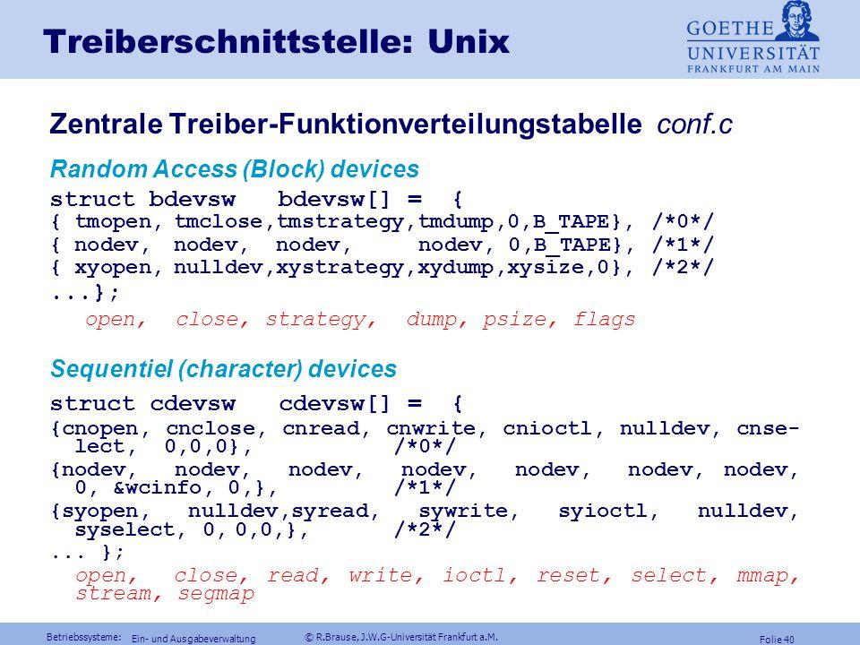 Treiberschnittstelle: Unix