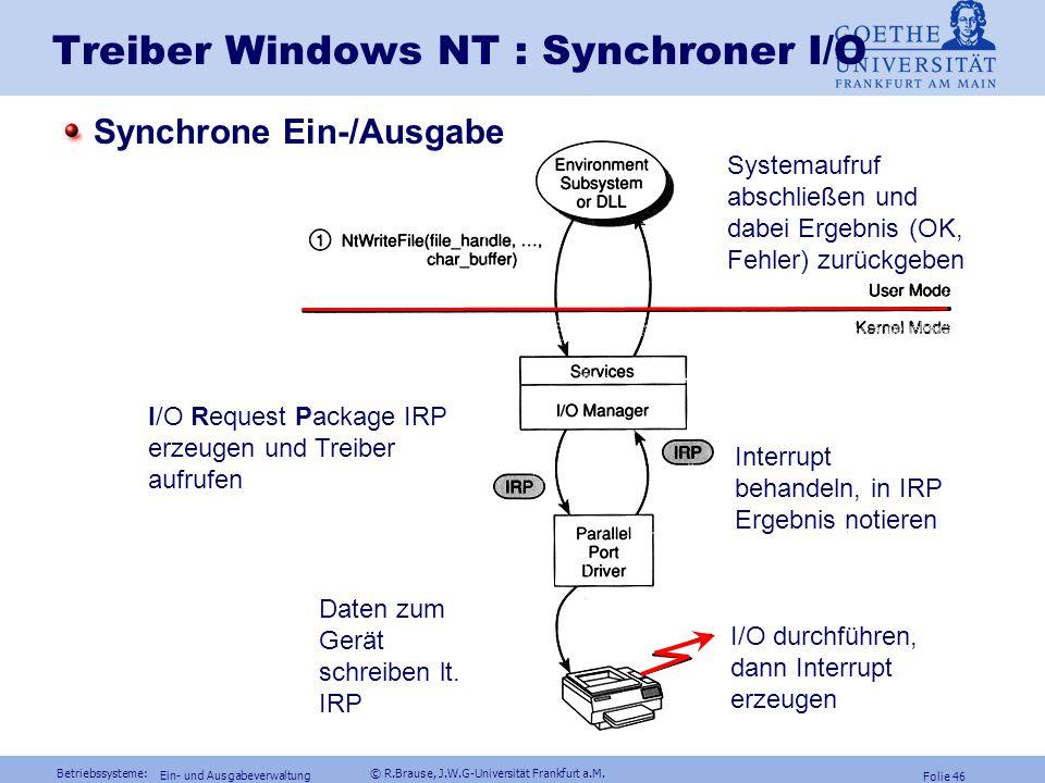 Treiber Windows NT : Synchroner I/O