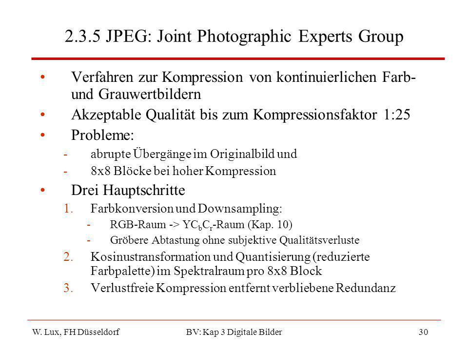 2.3.5 JPEG: Joint Photographic Experts Group
