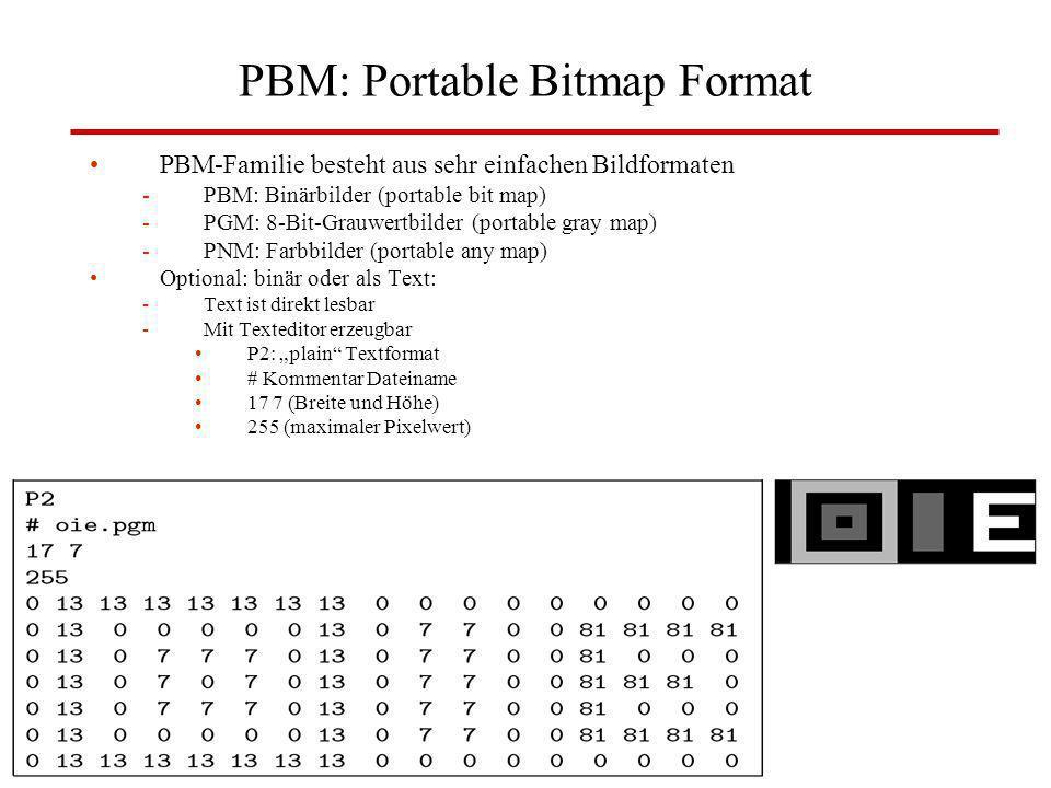 PBM: Portable Bitmap Format