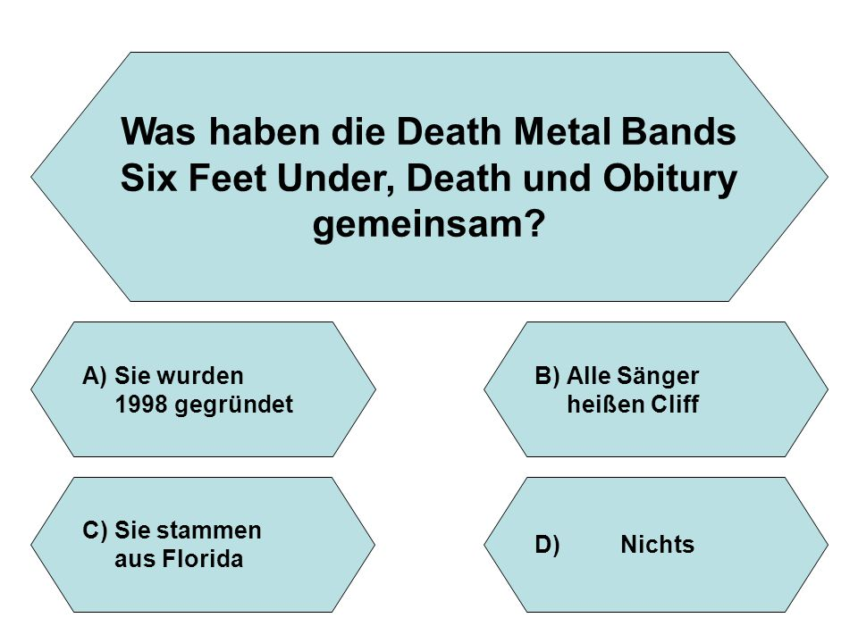 Was haben die Death Metal Bands Six Feet Under, Death und Obitury