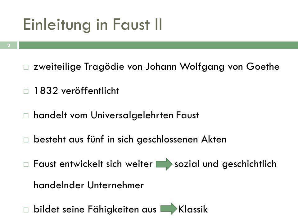 Einleitung in Faust II zweiteilige Tragödie von Johann Wolfgang von Goethe. 1832 veröffentlicht. handelt vom Universalgelehrten Faust.