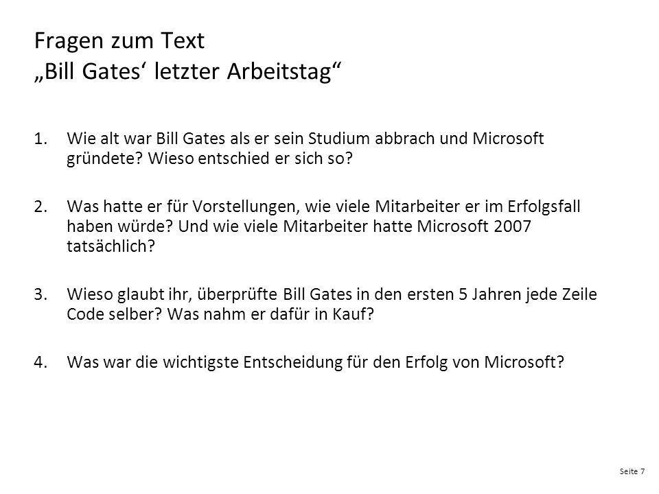 """Fragen zum Text """"Bill Gates' letzter Arbeitstag"""