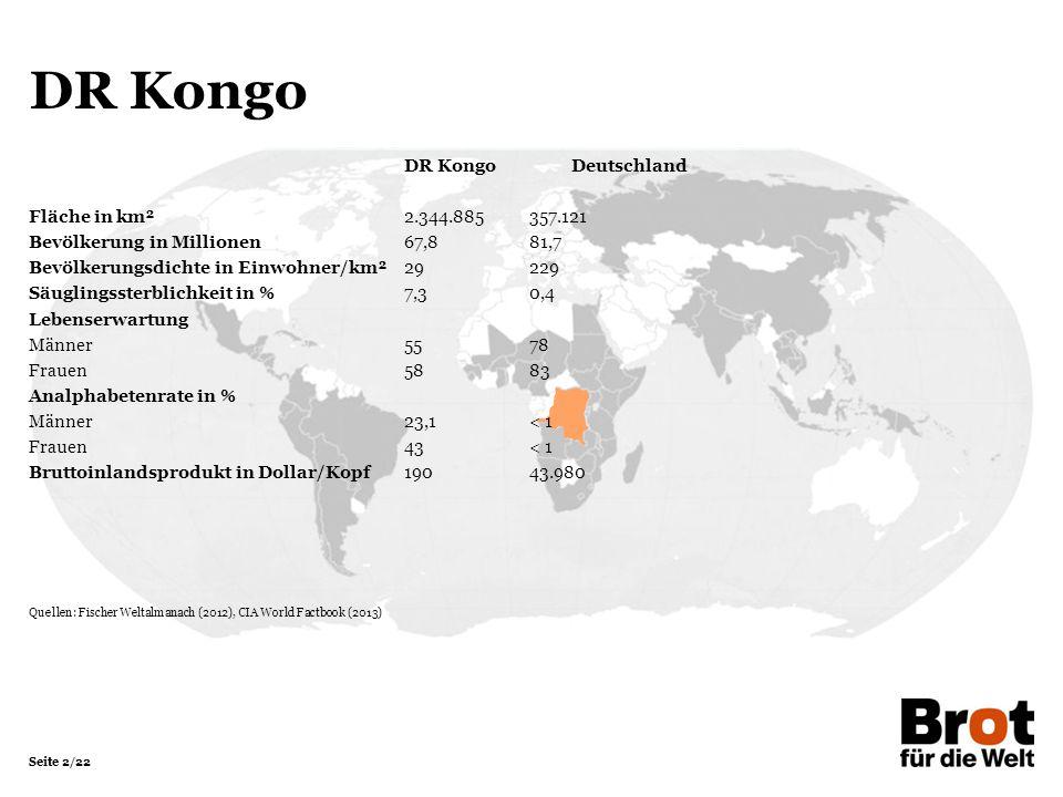 DR Kongo DR Kongo Deutschland Fläche in km² 2.344.885 357.121