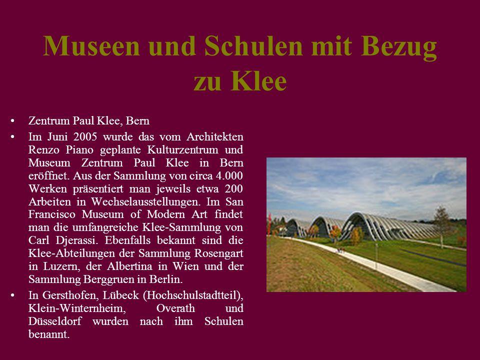 Museen und Schulen mit Bezug zu Klee