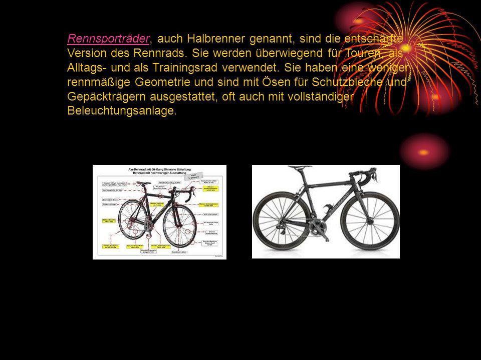Rennsporträder, auch Halbrenner genannt, sind die entschärfte Version des Rennrads.