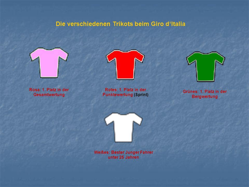 Die verschiedenen Trikots beim Giro d'Italia