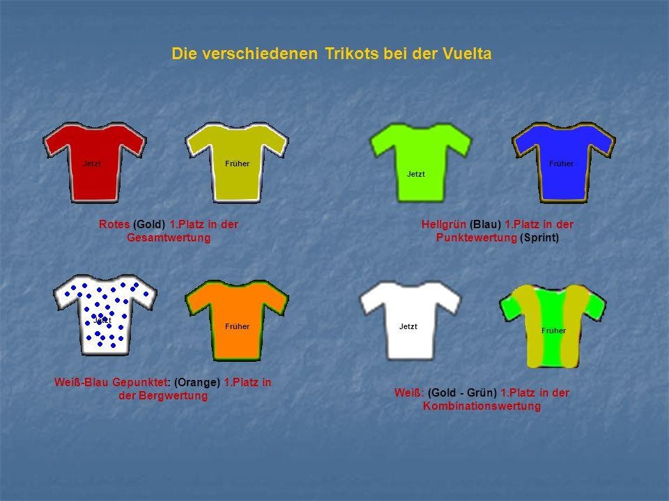 Die verschiedenen Trikots bei der Vuelta