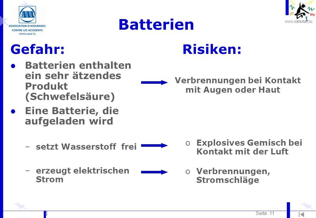 Batterien Gefahr: Risiken: