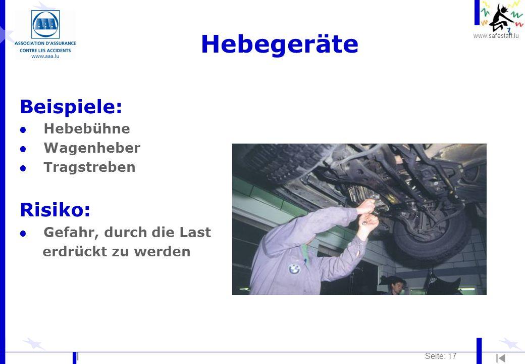 Hebegeräte Beispiele: Risiko: Hebebühne Wagenheber Tragstreben