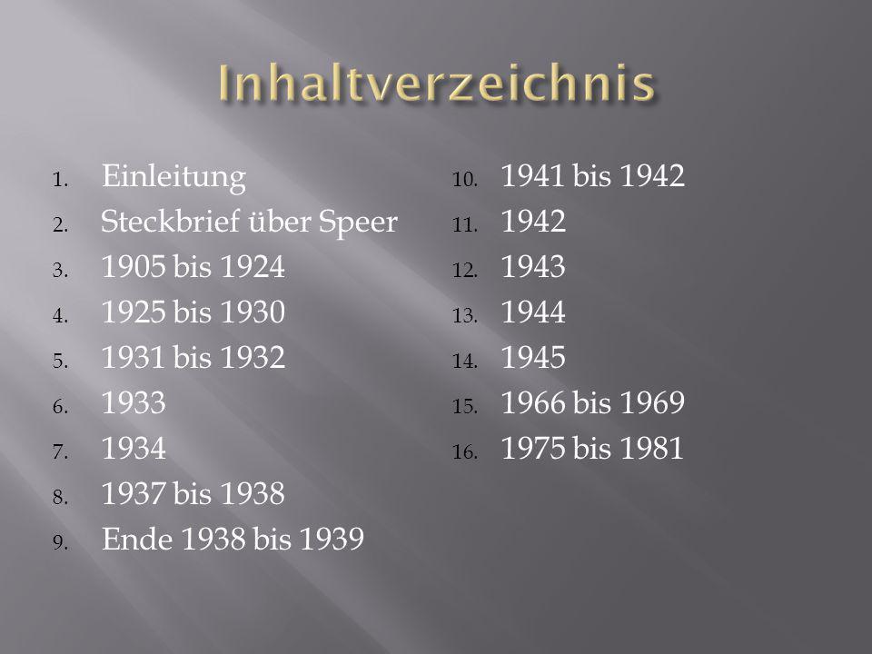 Inhaltverzeichnis Einleitung Steckbrief über Speer 1905 bis 1924