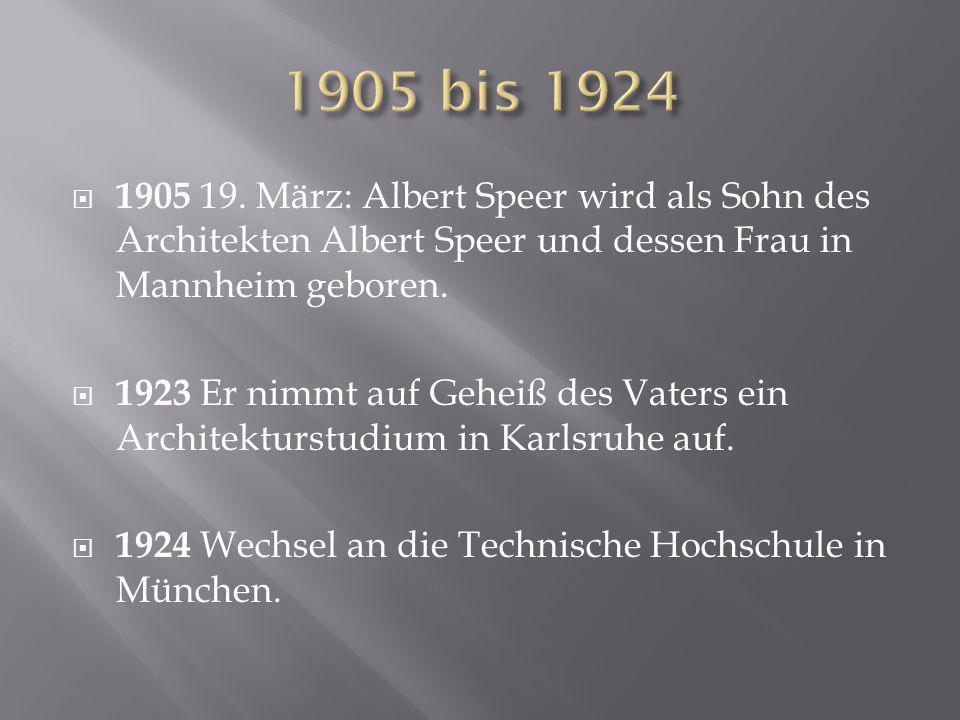 1905 bis 1924 1905 19. März: Albert Speer wird als Sohn des Architekten Albert Speer und dessen Frau in Mannheim geboren.