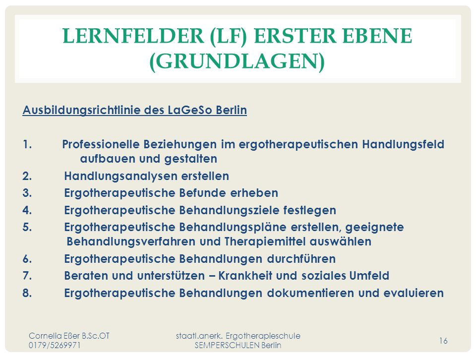 Lernfelder (LF) erster Ebene (Grundlagen)