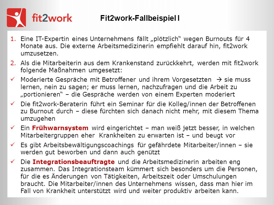 Fit2work-Fallbeispiel I