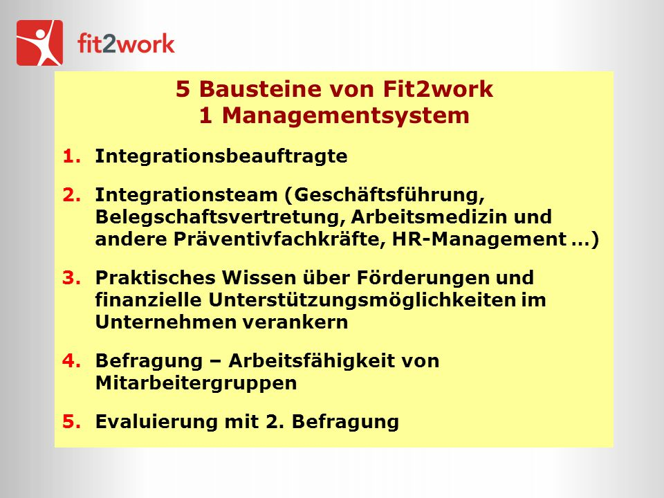 5 Bausteine von Fit2work 1 Managementsystem