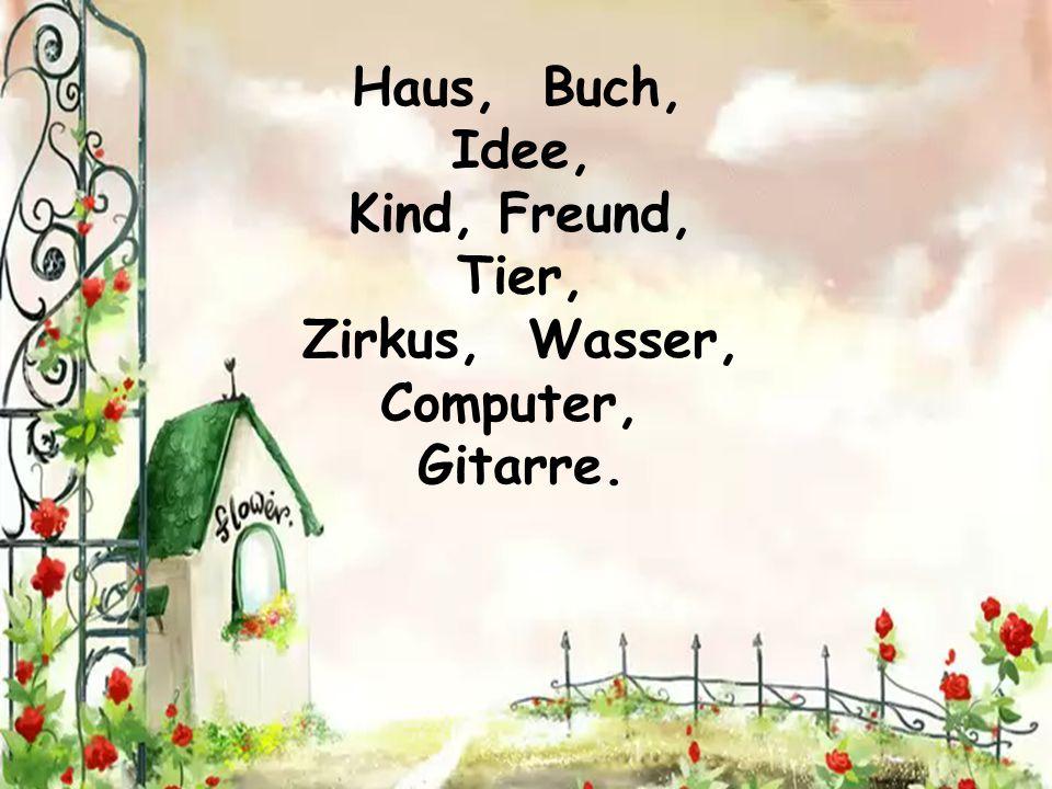 Haus, Buch, Idee, Kind, Freund, Tier, Zirkus, Wasser, Computer, Gitarre.