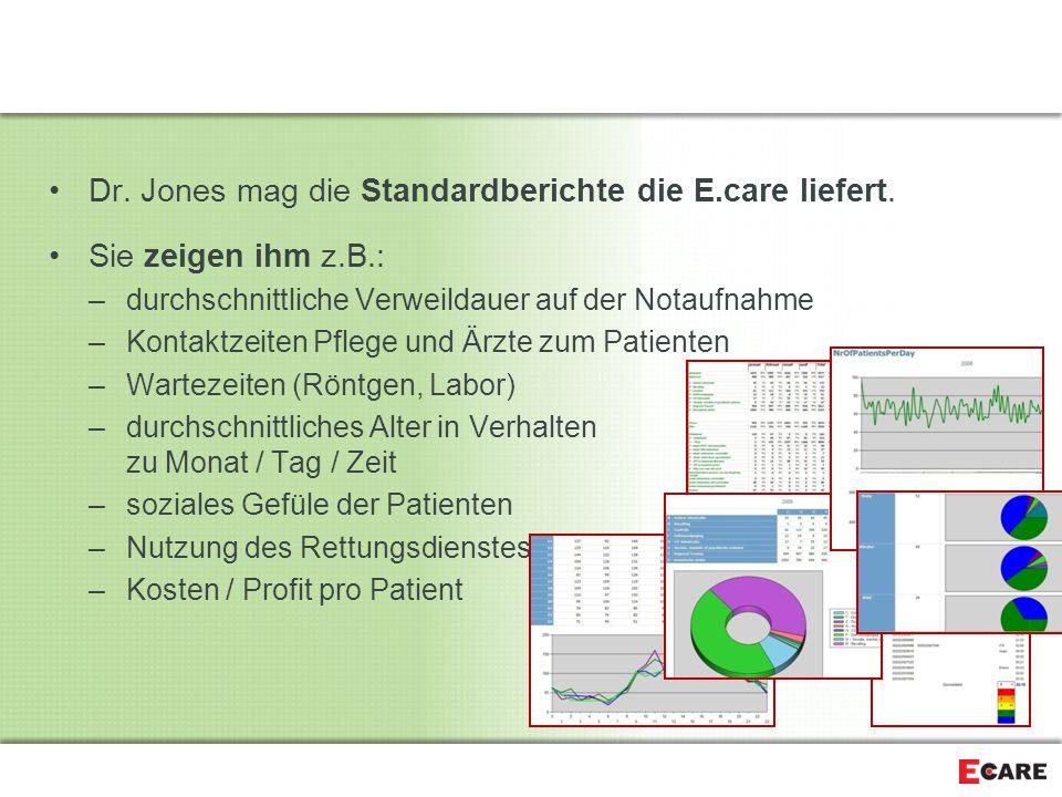 Dr. Jones mag die Standardberichte die E.care liefert.