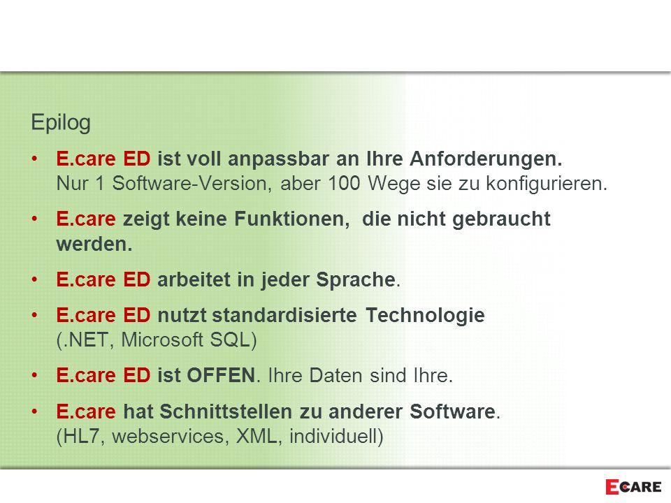 Epilog E.care ED ist voll anpassbar an Ihre Anforderungen. Nur 1 Software-Version, aber 100 Wege sie zu konfigurieren.