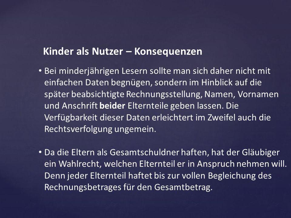 Kinder als Nutzer – Konsequenzen