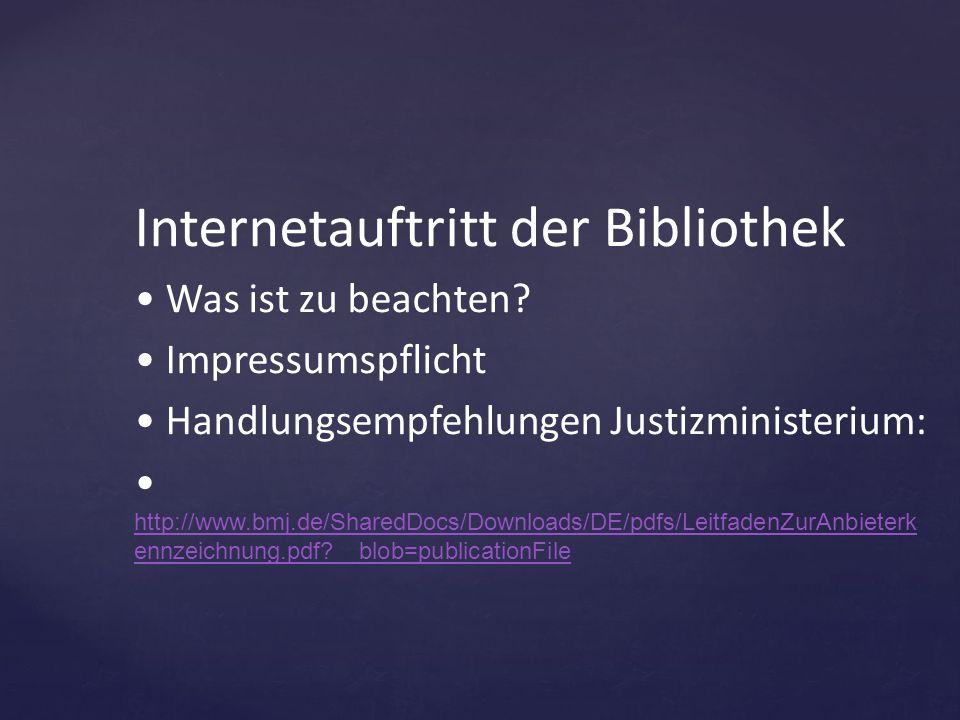 Internetauftritt der Bibliothek