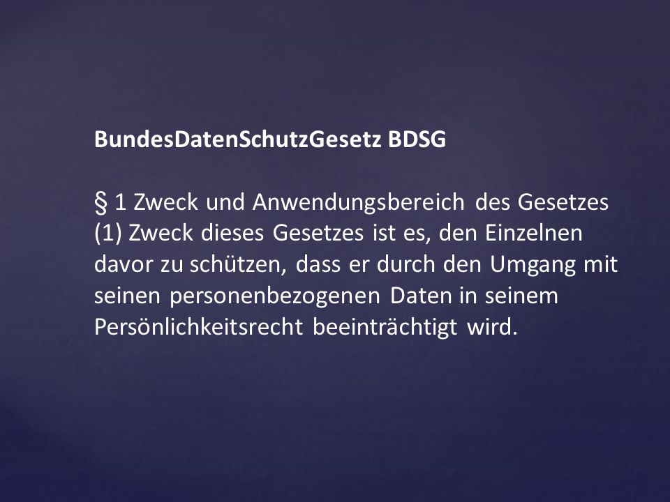 BundesDatenSchutzGesetz BDSG