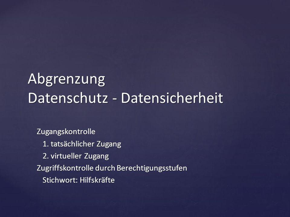 Abgrenzung Datenschutz - Datensicherheit