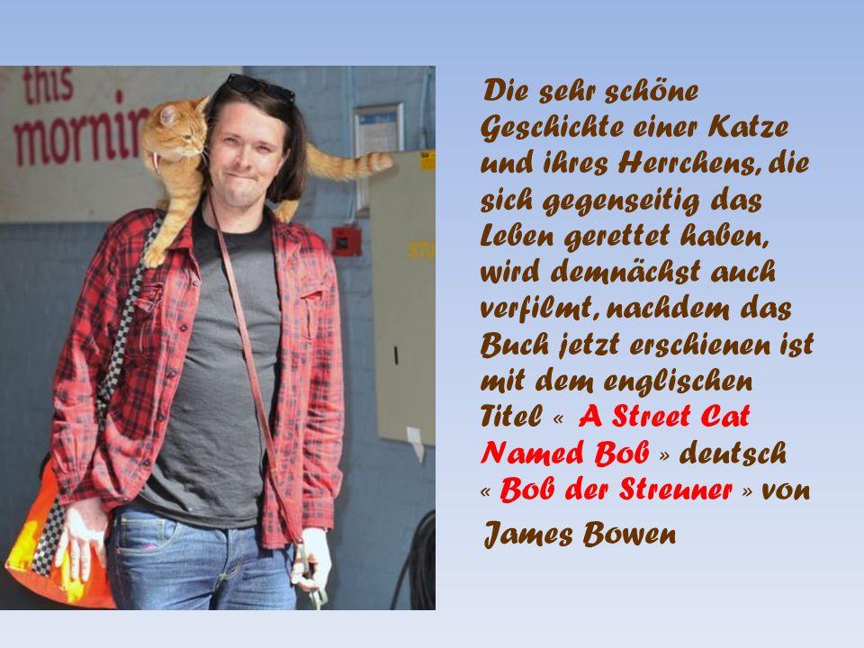 Die sehr schöne Geschichte einer Katze und ihres Herrchens, die sich gegenseitig das Leben gerettet haben, wird demnächst auch verfilmt, nachdem das Buch jetzt erschienen ist mit dem englischen Titel « A Street Cat Named Bob » deutsch « Bob der Streuner » von