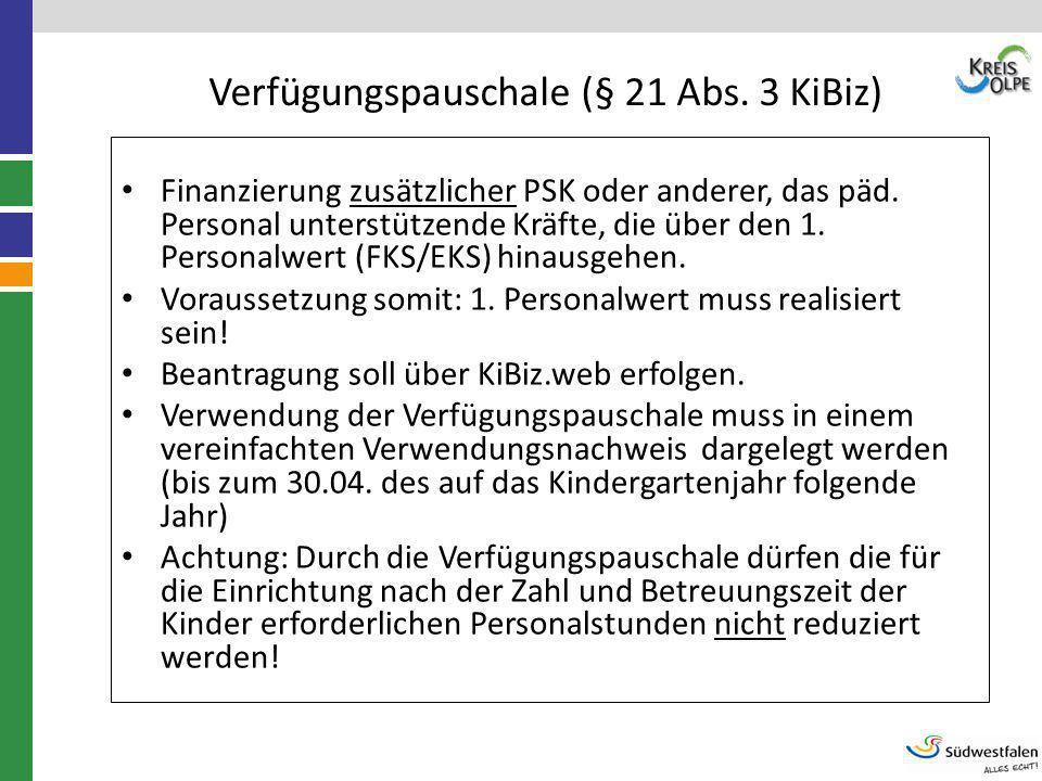 Verfügungspauschale (§ 21 Abs. 3 KiBiz)