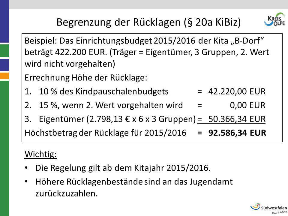 Begrenzung der Rücklagen (§ 20a KiBiz)