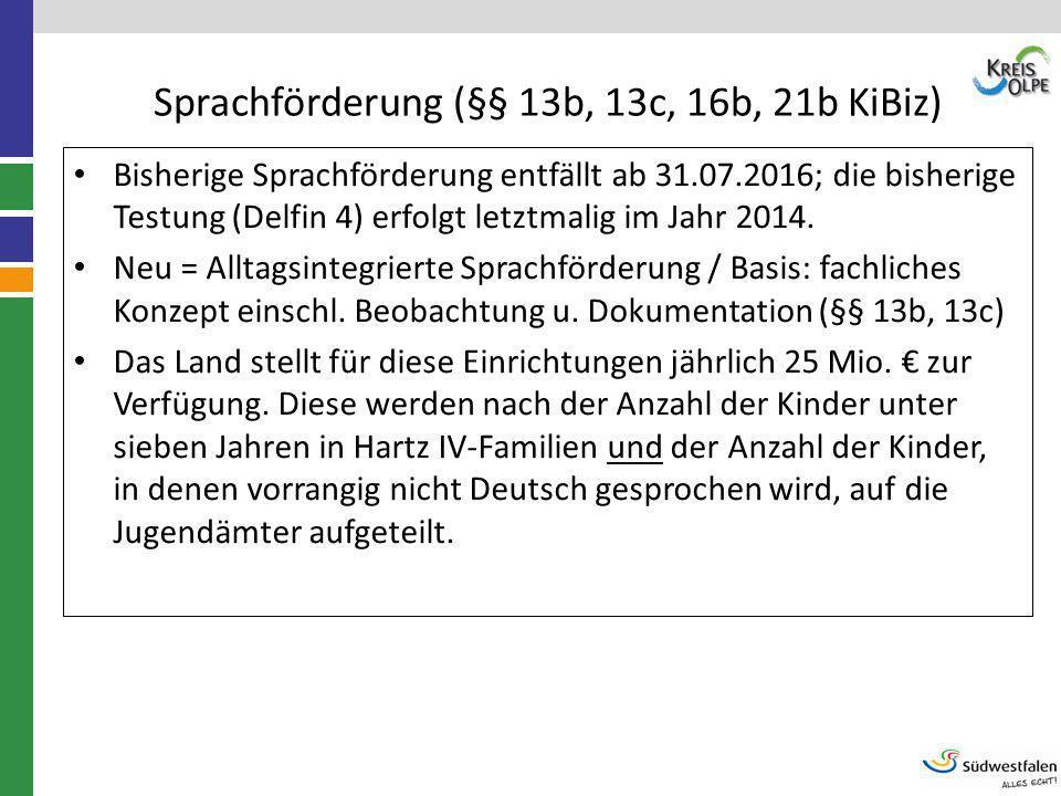 Sprachförderung (§§ 13b, 13c, 16b, 21b KiBiz)